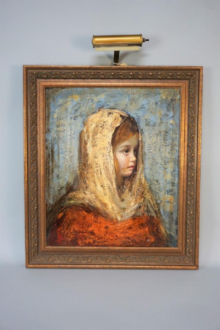 VINTAGE OIL ON CANVAS OF A YOUNG GIRL CRYING