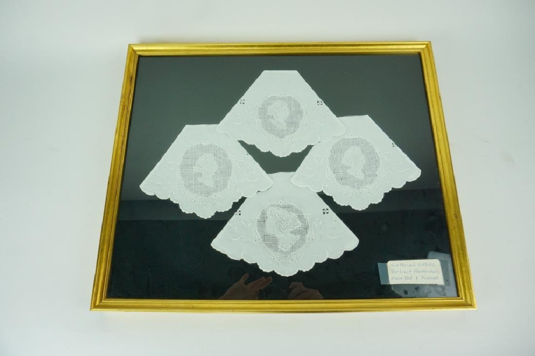 (4) VICTORIAN LADIES HANDKERCHIEFS UNDER GLASS