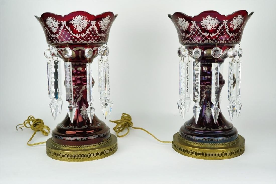 PAIR VINTAGE RED GLASS LUSTRES