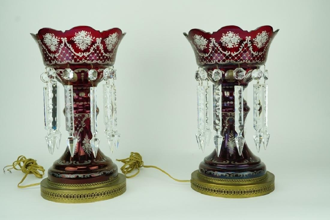 PAIR VINTAGE RED GLASS LUSTRES - 3