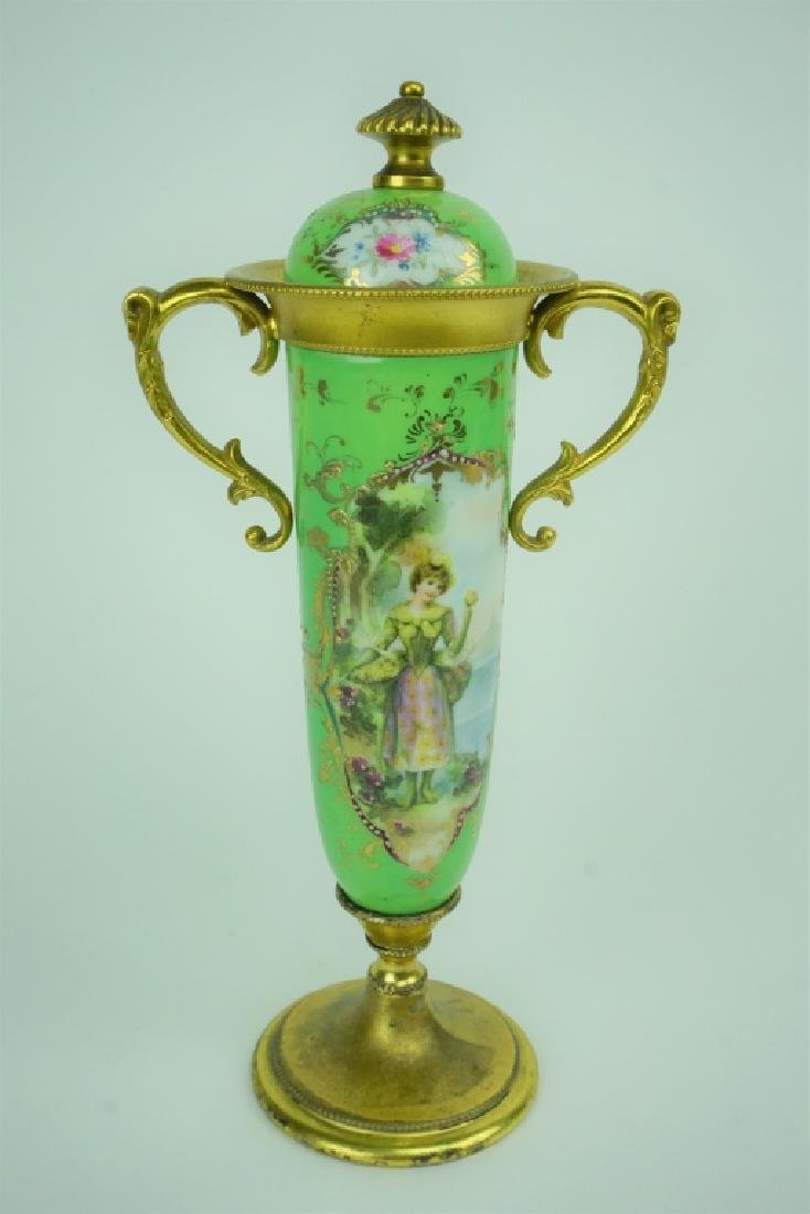 ANTIQUE HAND PAINTED PORCELAIN VASE WITH LID