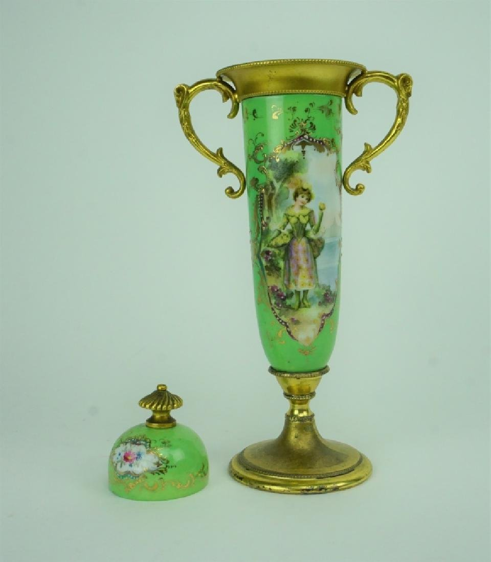 ANTIQUE HAND PAINTED PORCELAIN VASE WITH LID - 3