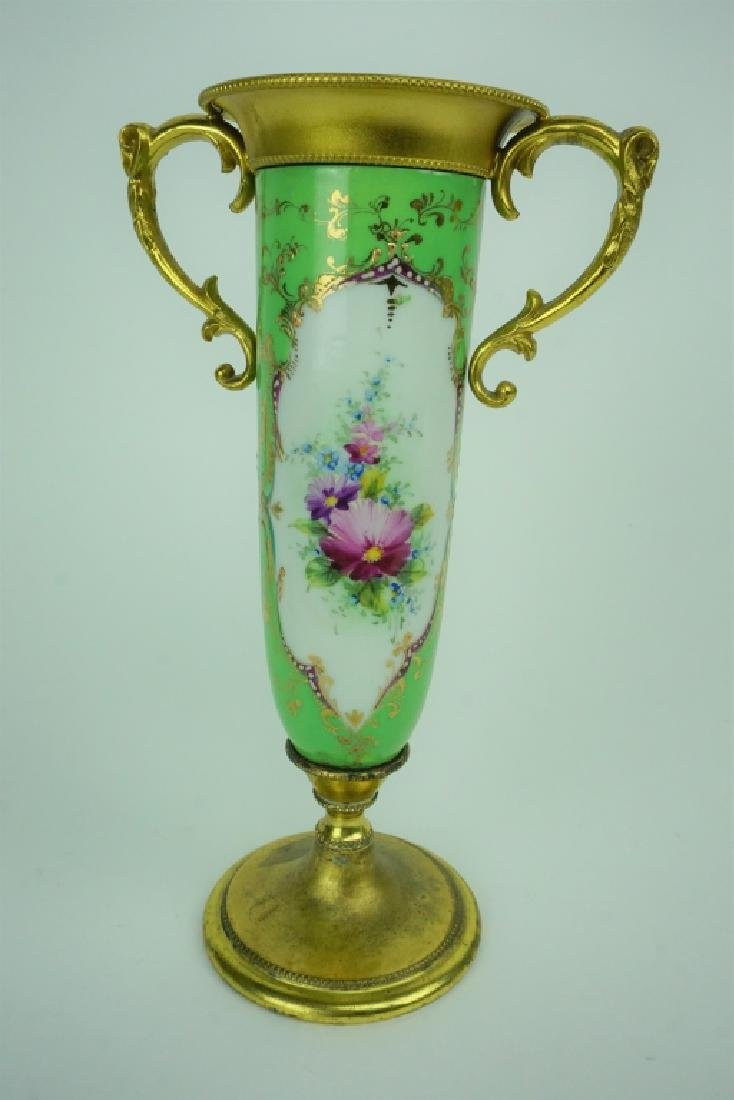ANTIQUE HAND PAINTED PORCELAIN VASE WITH LID - 4