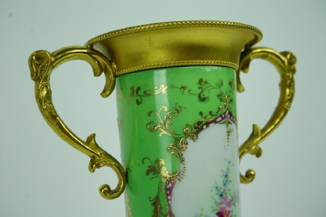 ANTIQUE HAND PAINTED PORCELAIN VASE WITH LID - 5