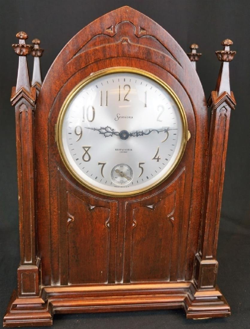 SESSIONS SELF WINDING CATHEDRAL MANTLE CLOCK