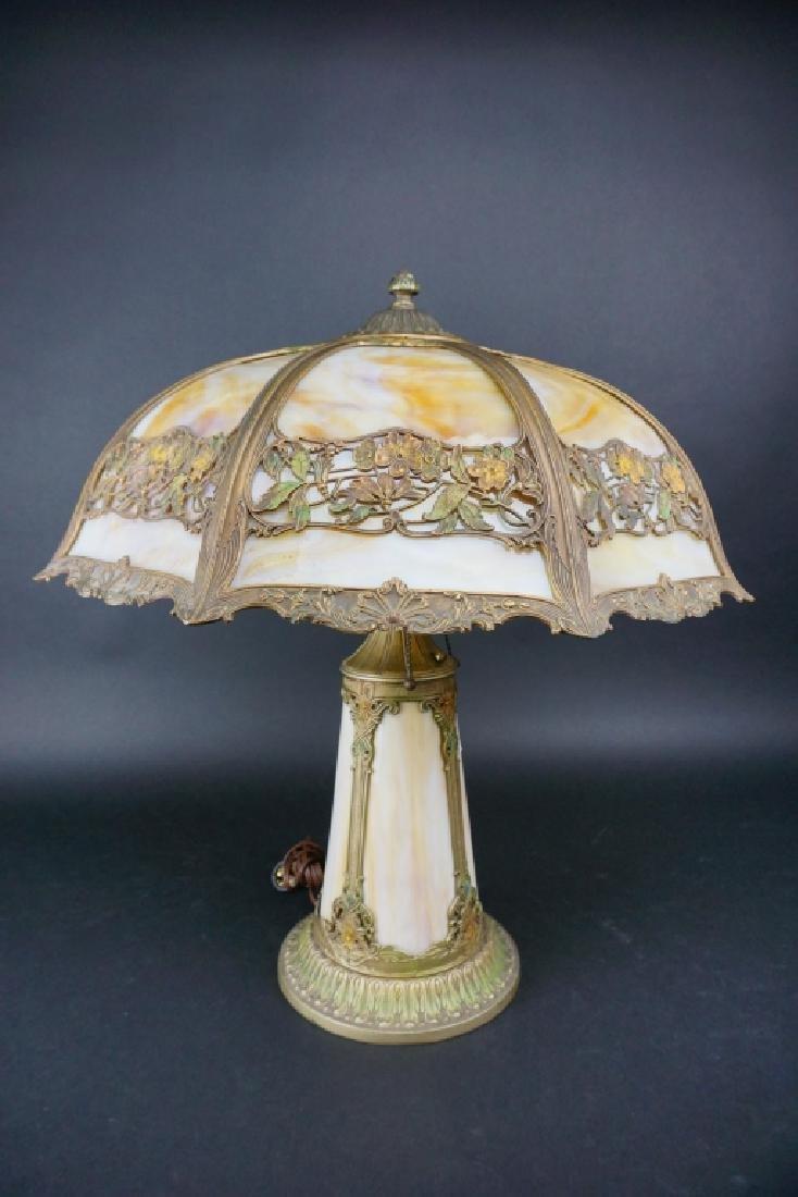 LIGHTHOUSE STYLE SLAG GLASS LAMP W/ 8-PANEL SHADE
