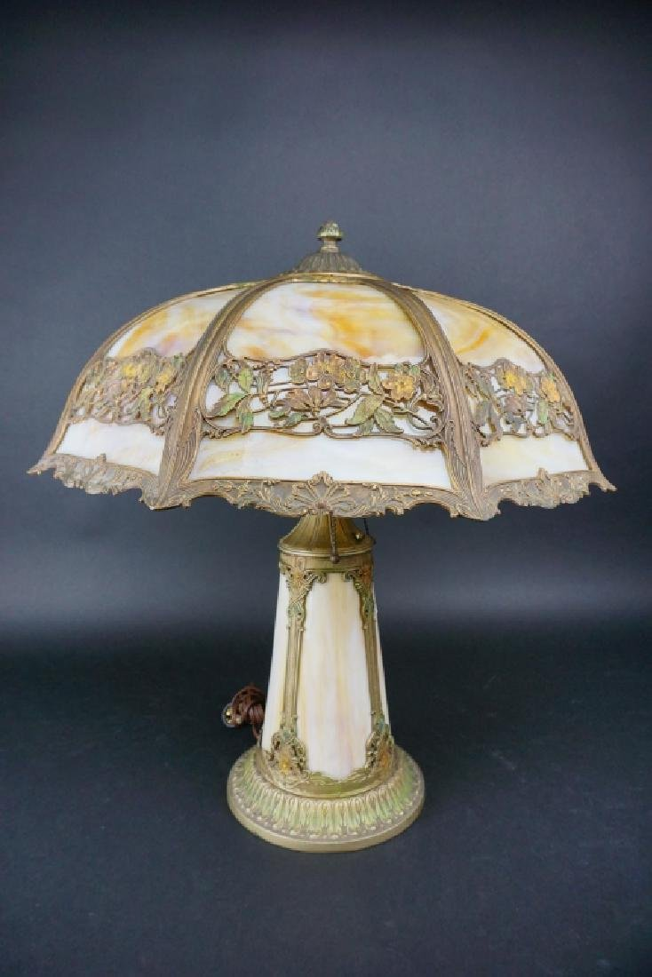 LIGHTHOUSE STYLE SLAG GLASS LAMP W/ 8-PANEL SHADE