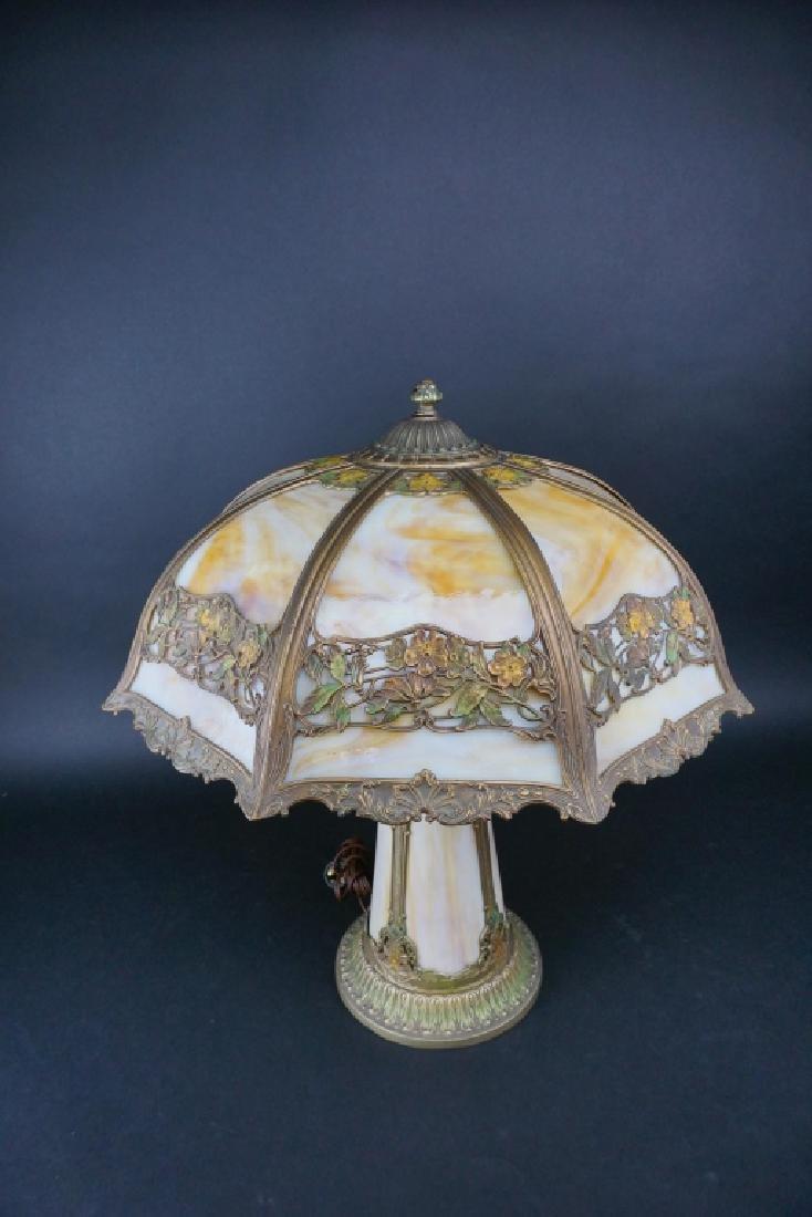 LIGHTHOUSE STYLE SLAG GLASS LAMP W/ 8-PANEL SHADE - 2