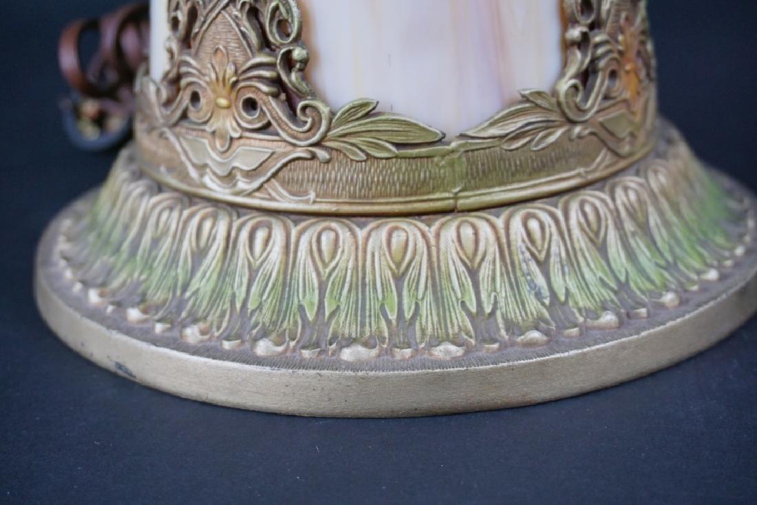LIGHTHOUSE STYLE SLAG GLASS LAMP W/ 8-PANEL SHADE - 3