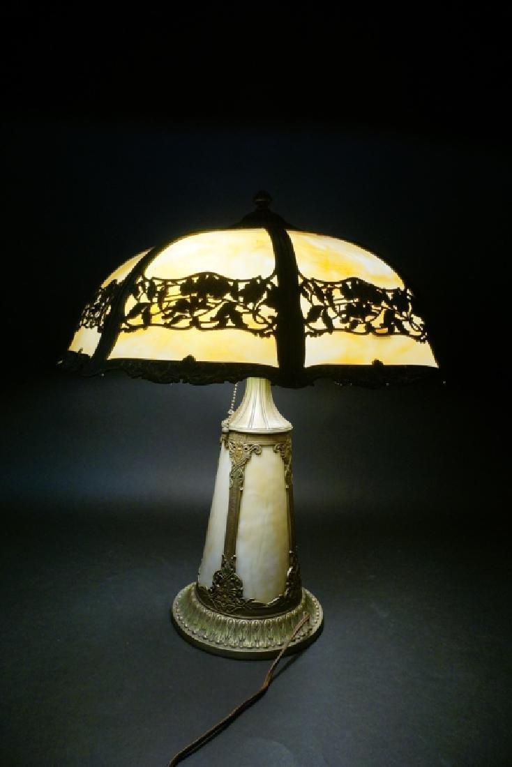 LIGHTHOUSE STYLE SLAG GLASS LAMP W/ 8-PANEL SHADE - 7