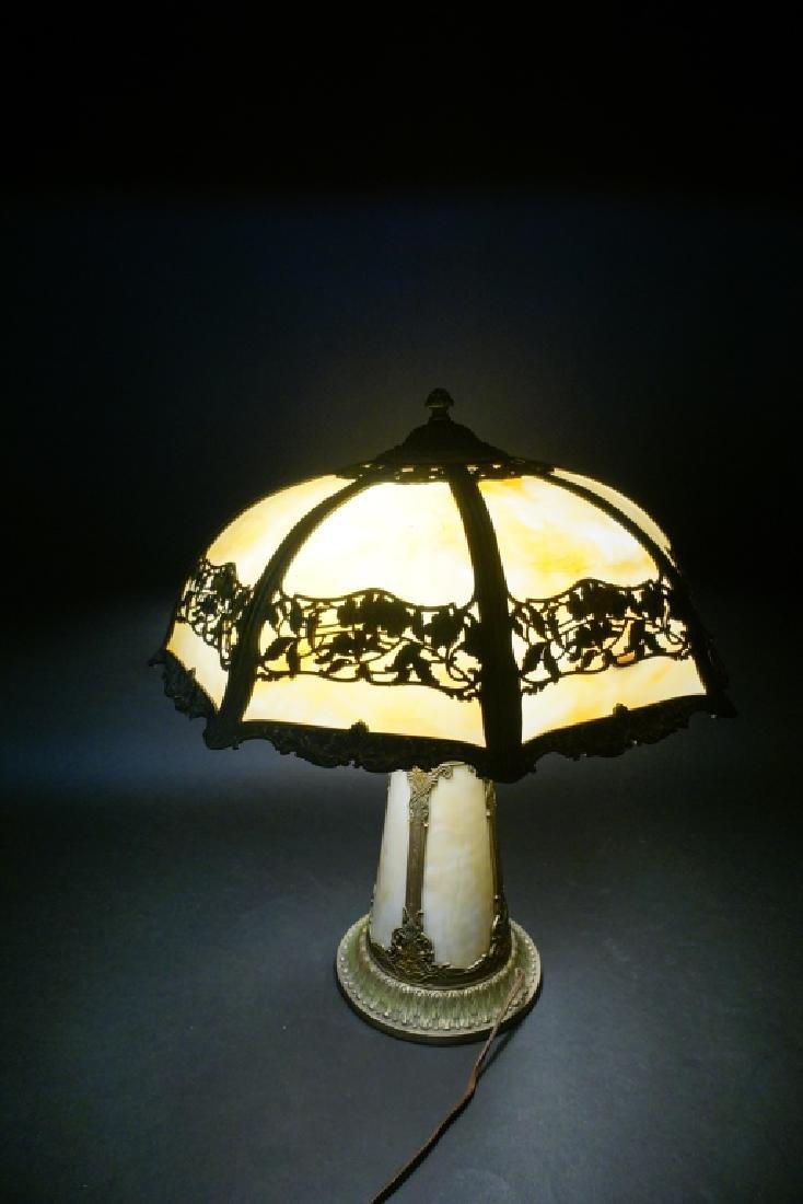 LIGHTHOUSE STYLE SLAG GLASS LAMP W/ 8-PANEL SHADE - 8