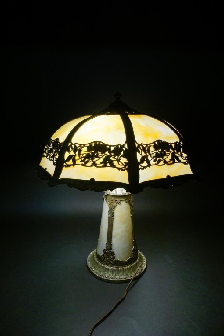 LIGHTHOUSE STYLE SLAG GLASS LAMP W/ 8-PANEL SHADE - 9