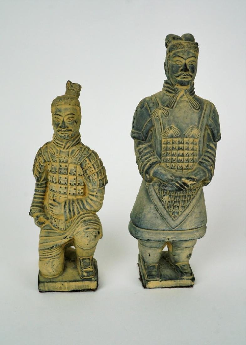 (2) VINTAGE TERRACOTTA ASIAN WARRIOR FIGURINES