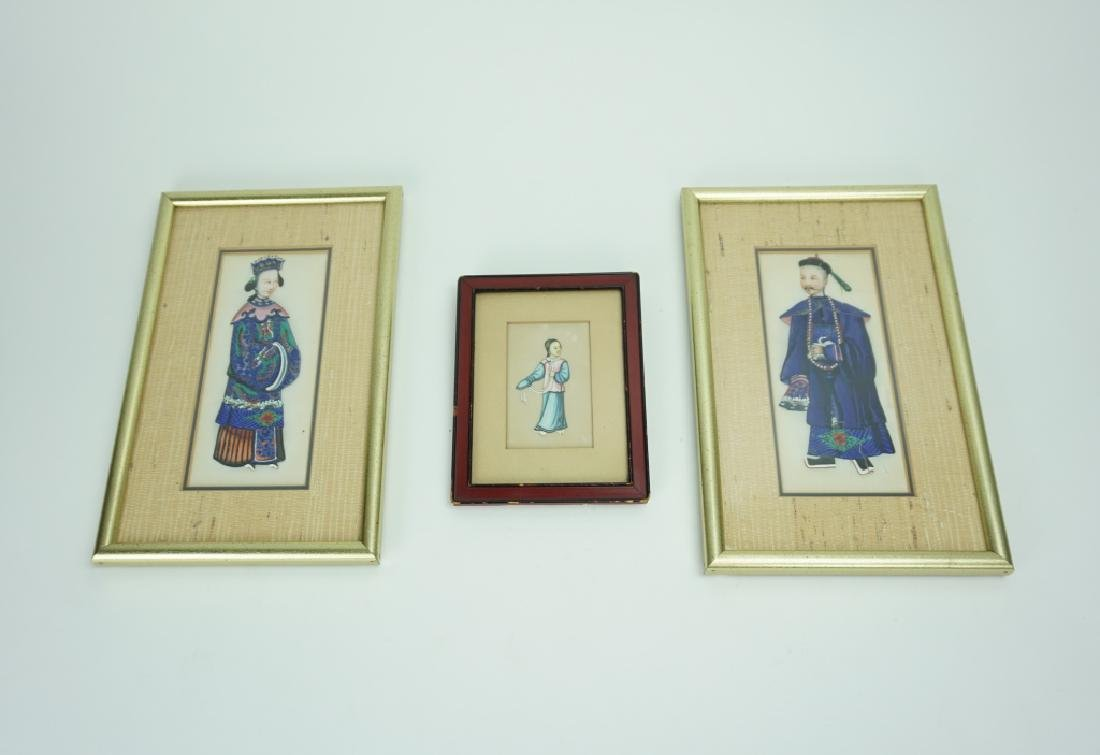 (3) ASSORTED FRAMED ORIENTAL WATERCOLORS ON SILK