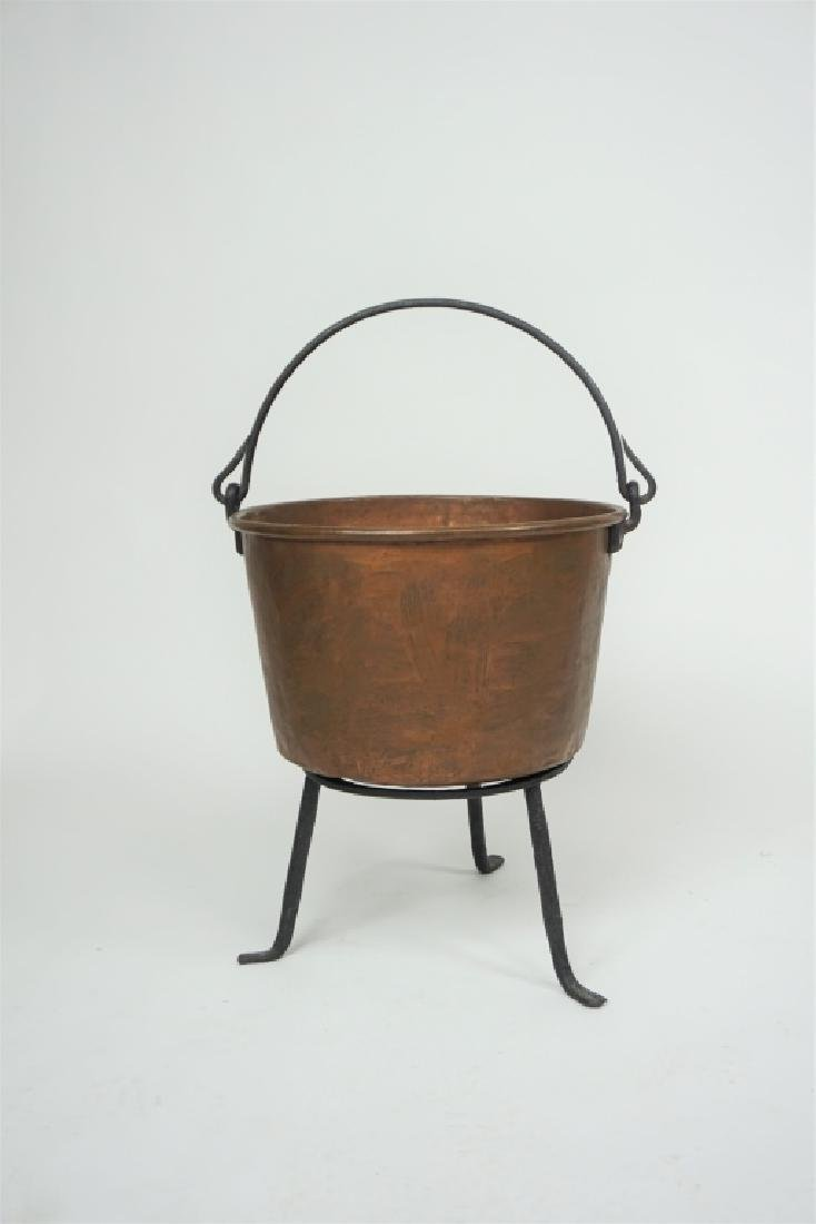 ANTIQUE COPPER KETTLE WITH IRON STAND