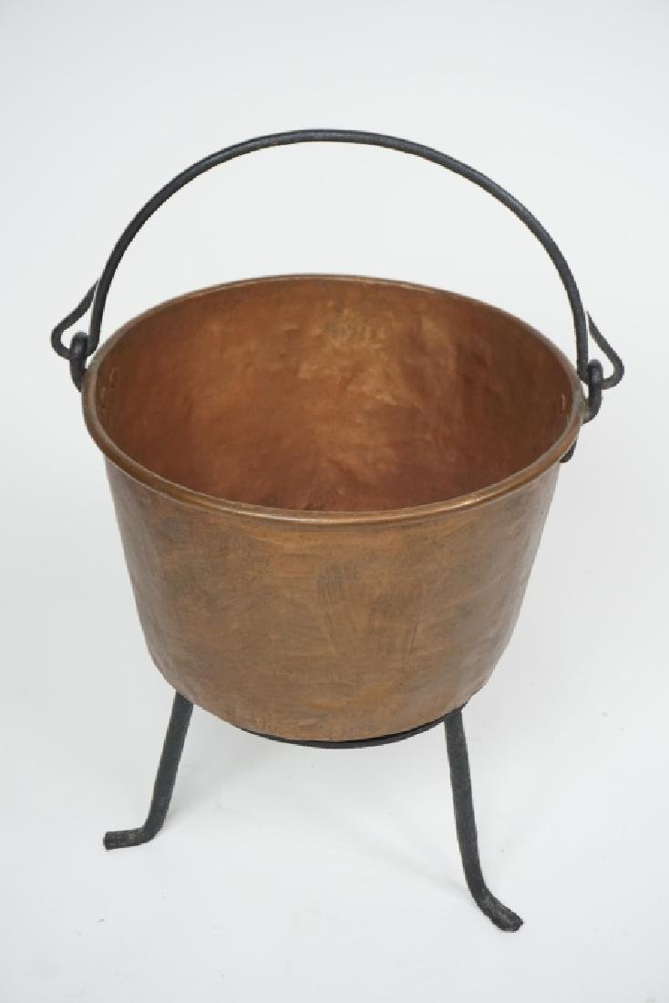 ANTIQUE COPPER KETTLE WITH IRON STAND - 3