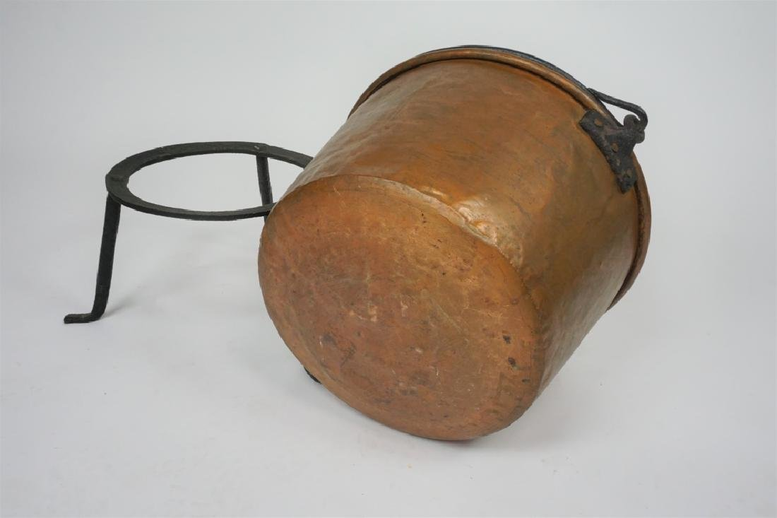ANTIQUE COPPER KETTLE WITH IRON STAND - 4