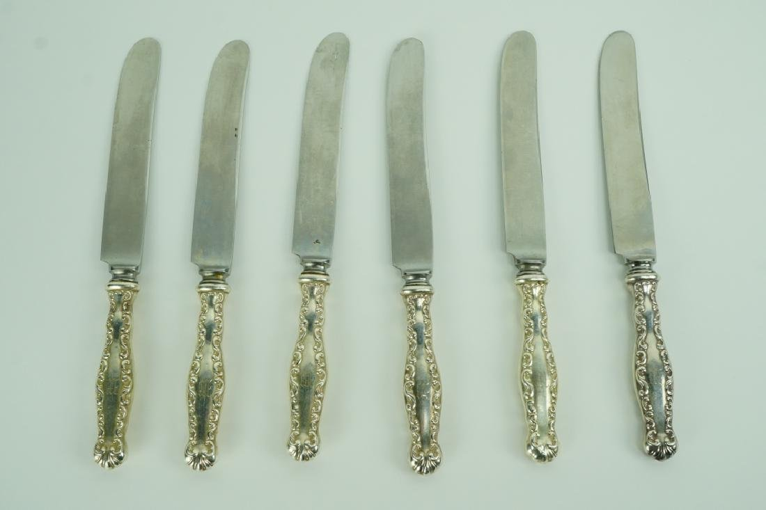 (6) STERLING HANDLE LOUIS XV DINNER KNIVES