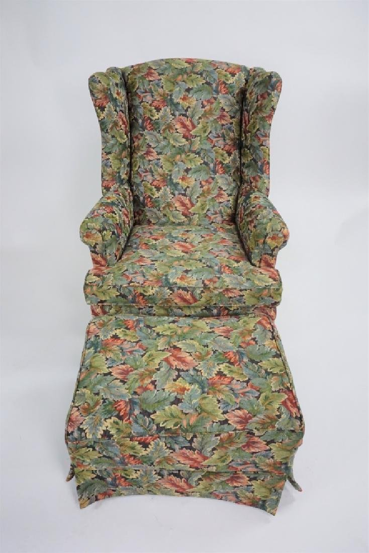 VINTAGE UPHOLSTERED WING BACK CHAIR AND OTTOMAN