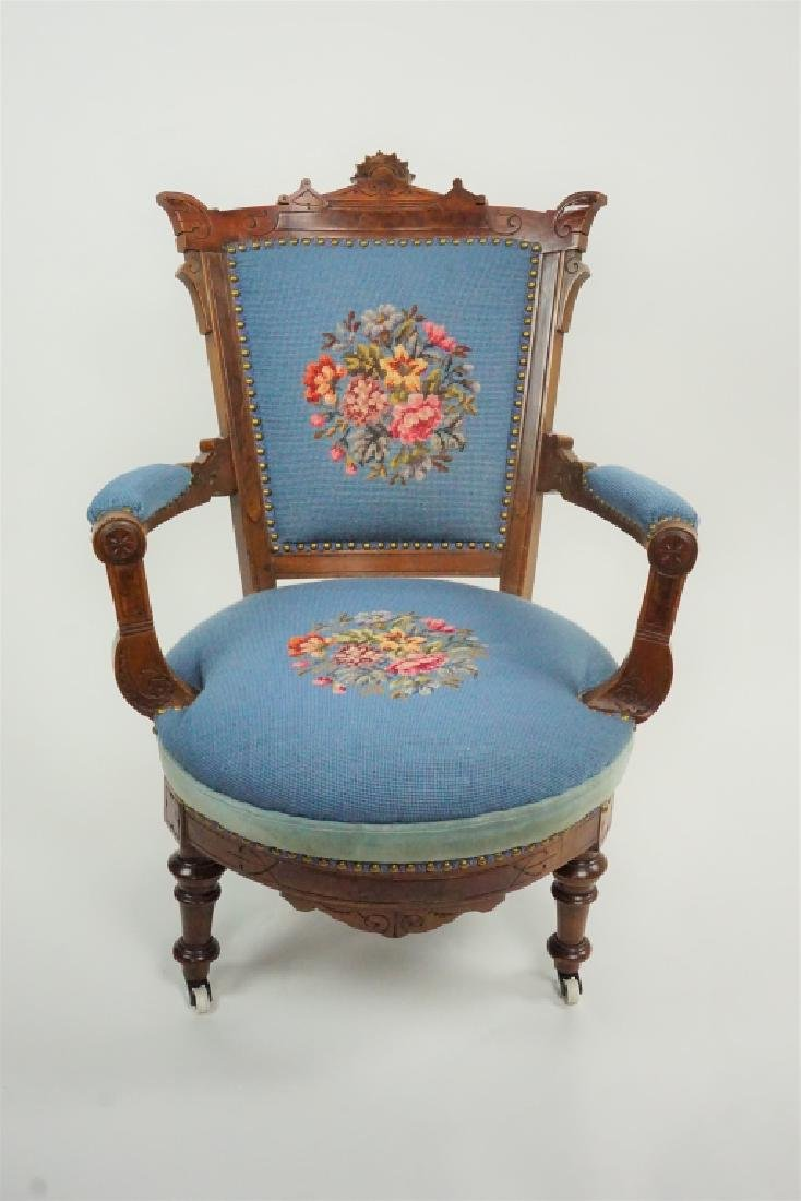 ANTIQUE VICTORIAN EASTLAKE STYLE ARM CHAIR