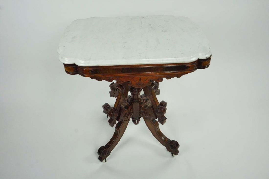 ANTIQUE EASTLAKE STYLE MARBLE TOP PARLOR TABLE