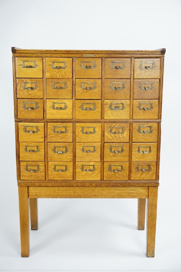 ANTIQUE OAK YAWMAN & ERBE CARD CATALOG FILE