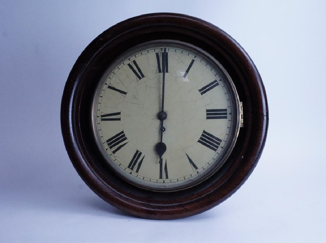 ANTIQUE OAK CASE FUSEE WALL CLOCK