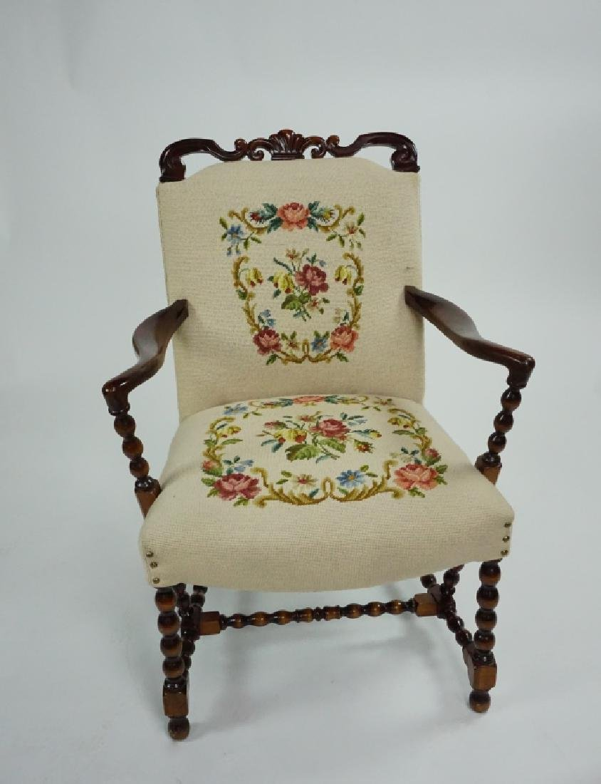 ANTIQUE CARVED FRAME ARM CHAIR