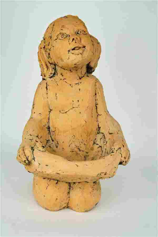 VINTAGE MARY MEDDA TERRACOTTA SCULPTURE OF GIRL