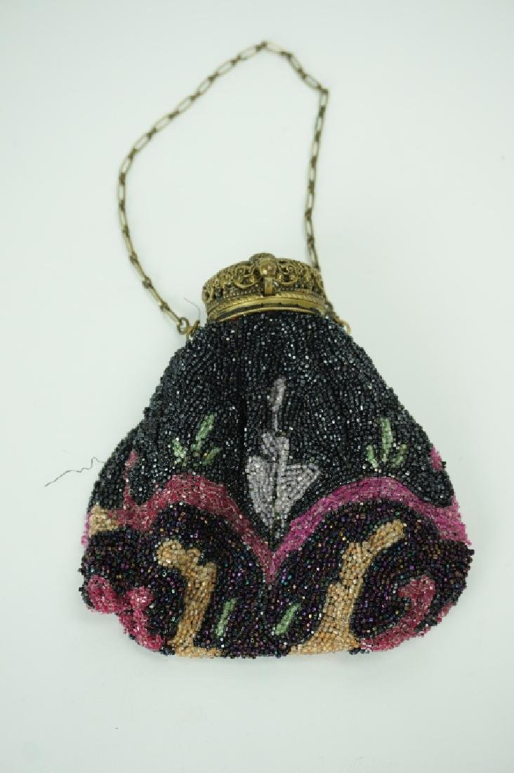 ANTIQUE BEADED PURSE WITH BRASS FRAME