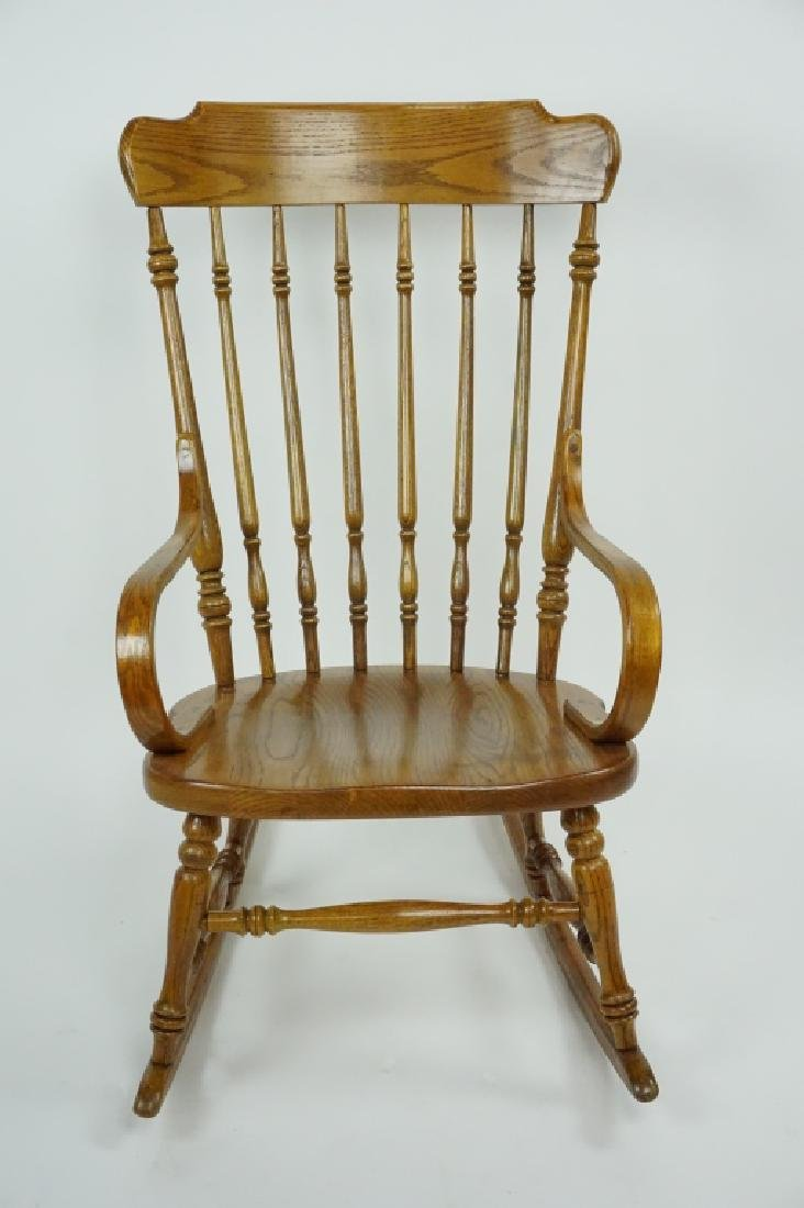 VINTAGE OAK ETHAN ALLEN ROCKING CHAIR