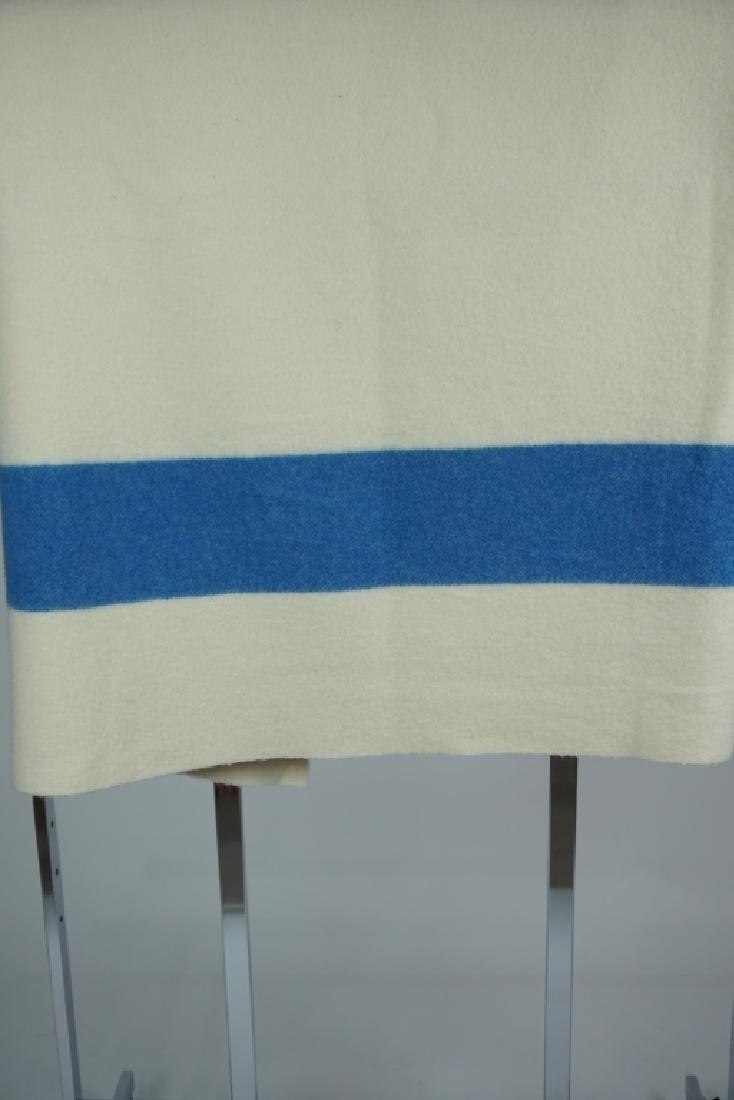 VINTAGE HUDSON'S BAY 6-PT BLUE STRIPE WOOL BLANKET