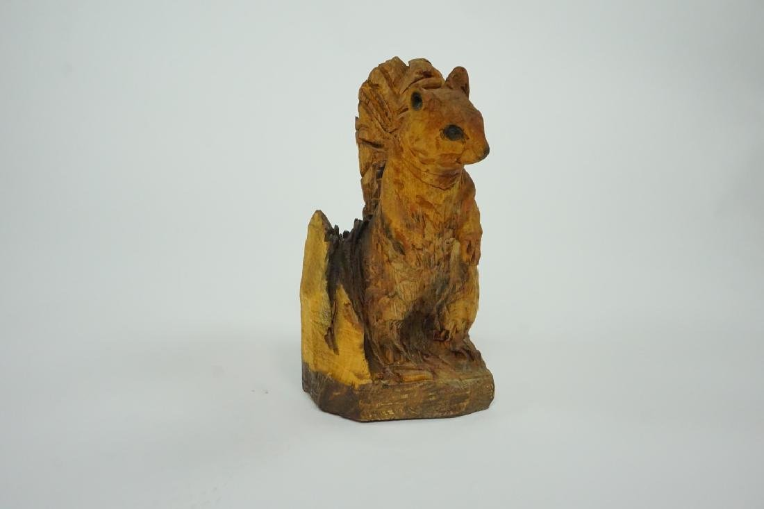 CHAINSAW CARVED WOOD SQUIRREL