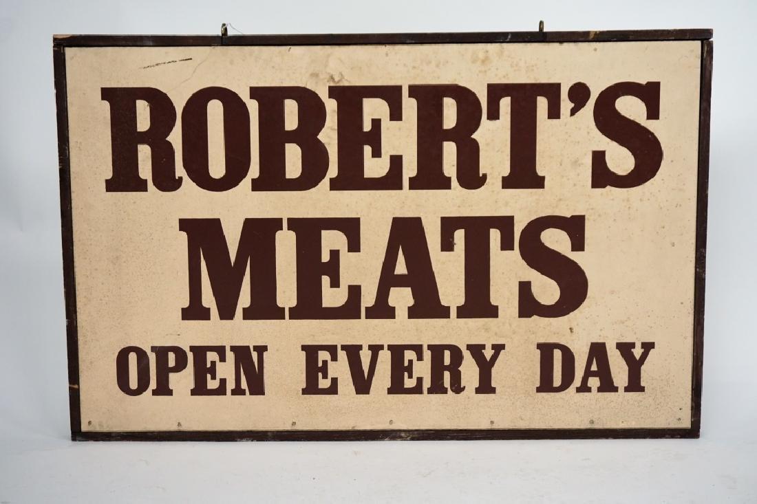 """VINTAGE WOOD FRAMED 2-SIDED """"ROBERT'S MEATS"""" SIGN"""
