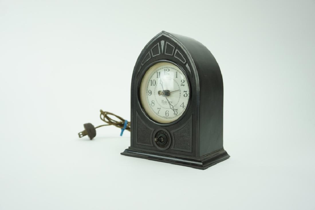 VINTAGE HAVLIN ELECTRIC TIME BAKELITE MANTLE CLOCK - 2