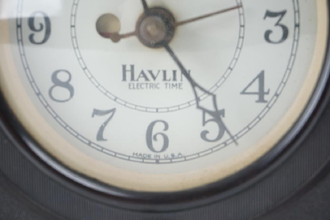 VINTAGE HAVLIN ELECTRIC TIME BAKELITE MANTLE CLOCK - 5