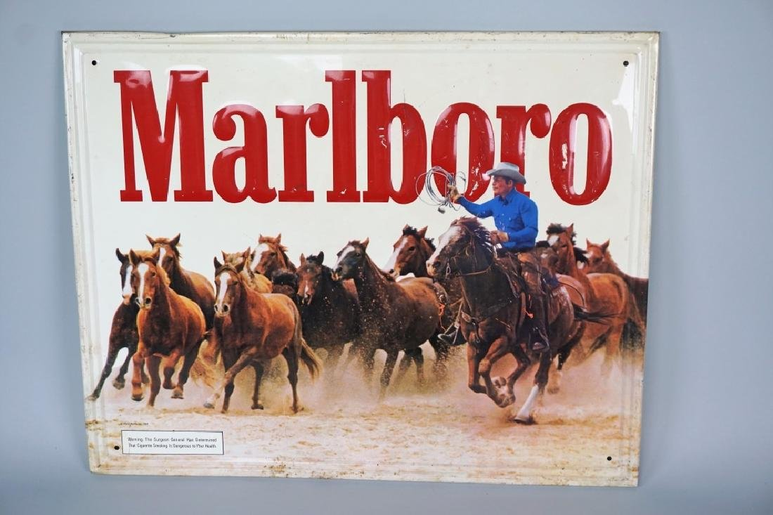 VINTAGE EMBOSSED MARLBORO CIGARETTES TIN SIGN