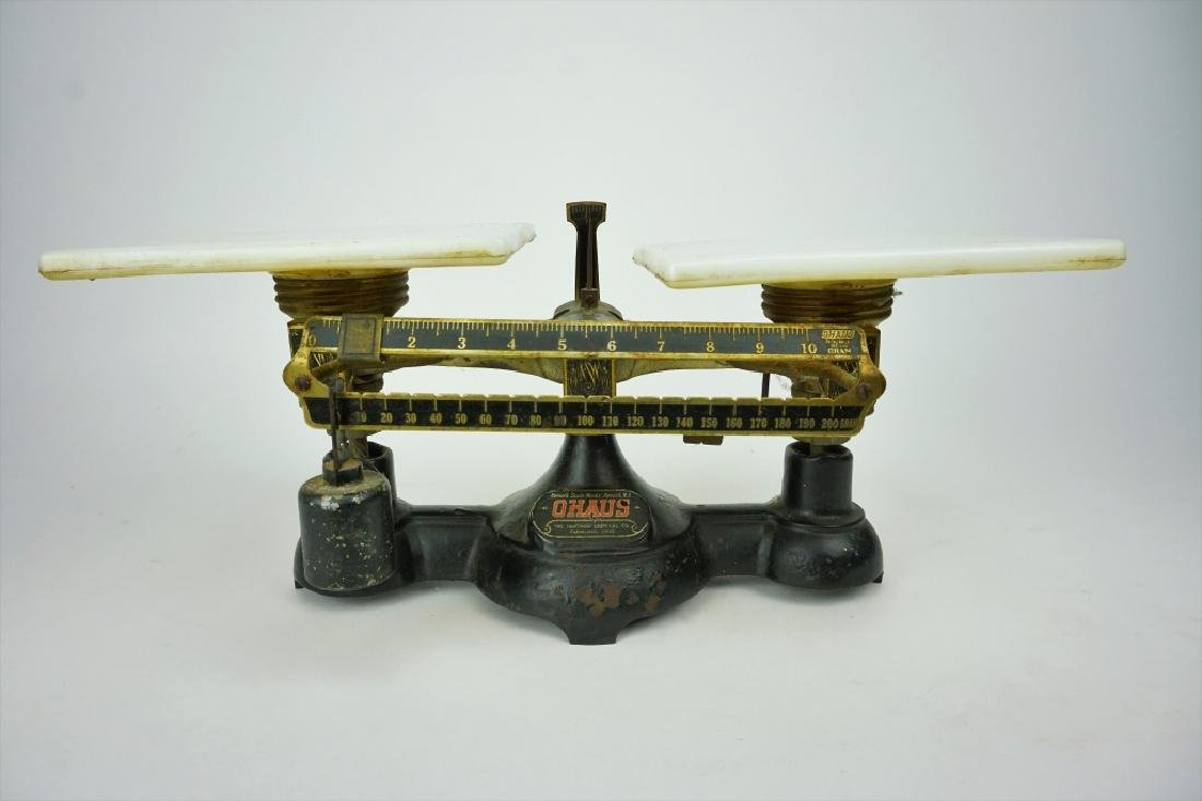 ANTIQUE OHAUS DOUBLE BEAM BALANCE SCALE