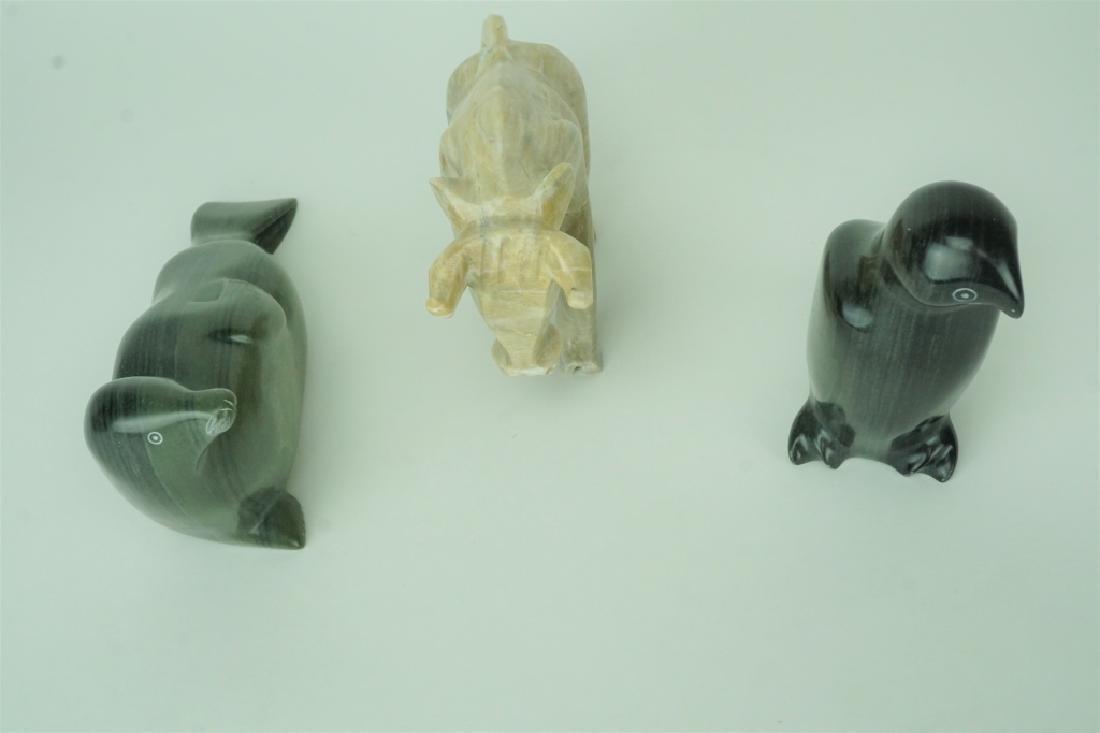(3) CARVED STONE ANIMAL SCULTURES