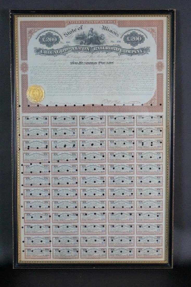 1873 CHICAGO & ALTON RAILROAD CO BOND CERTIFICATE