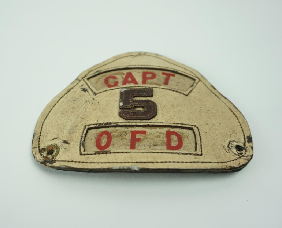 VINTAGE LEATHER FIREMAN'S HELMET PATCH