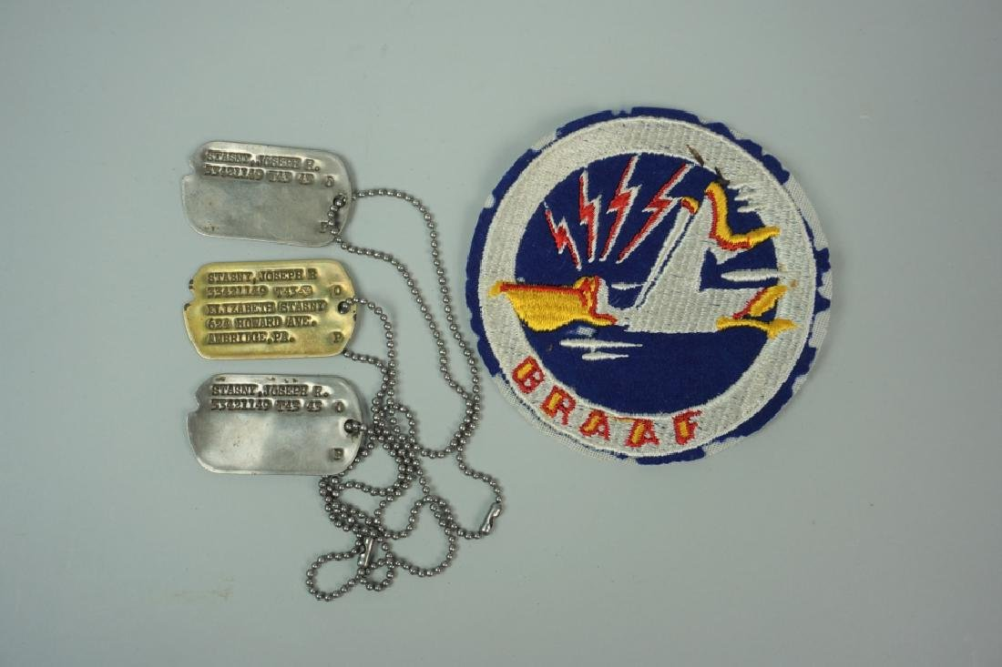 WWII DOG TAGS AND BRAAF PATCH