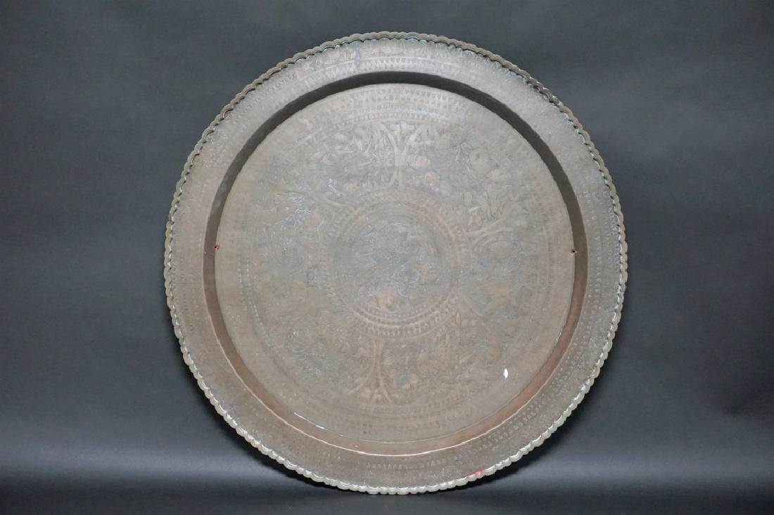 LARGE ANTIQUE ETCHED BRASS TRAY