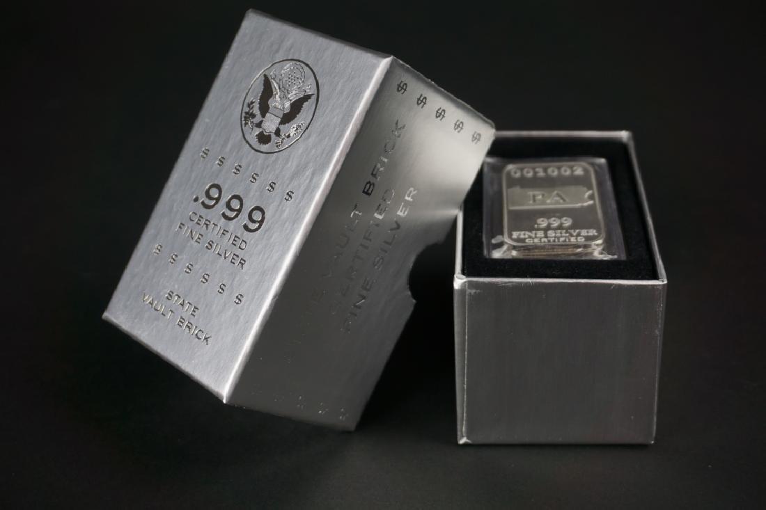 (5) PA .999 PURE SILVER INGOT US STATE SILVER BAR - 5