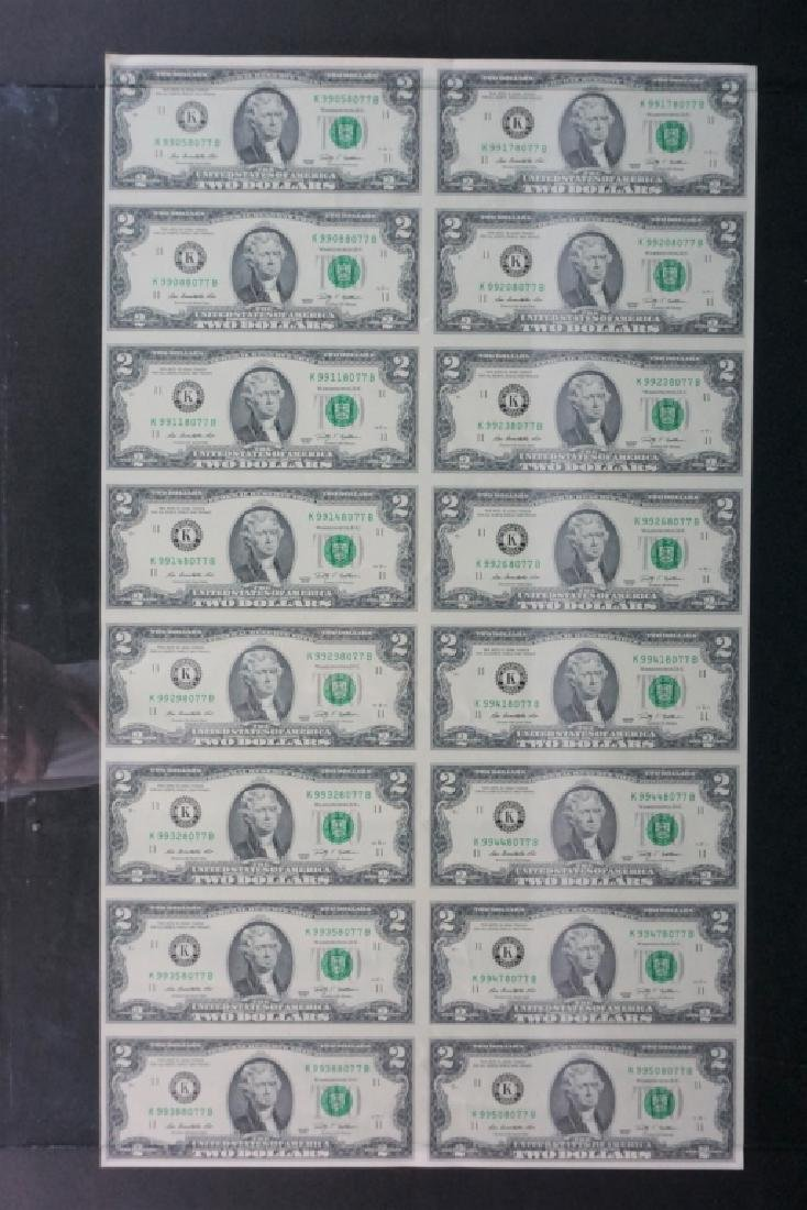 (2) UNCIRCULATED UNCUT $2 BILL SHEETS