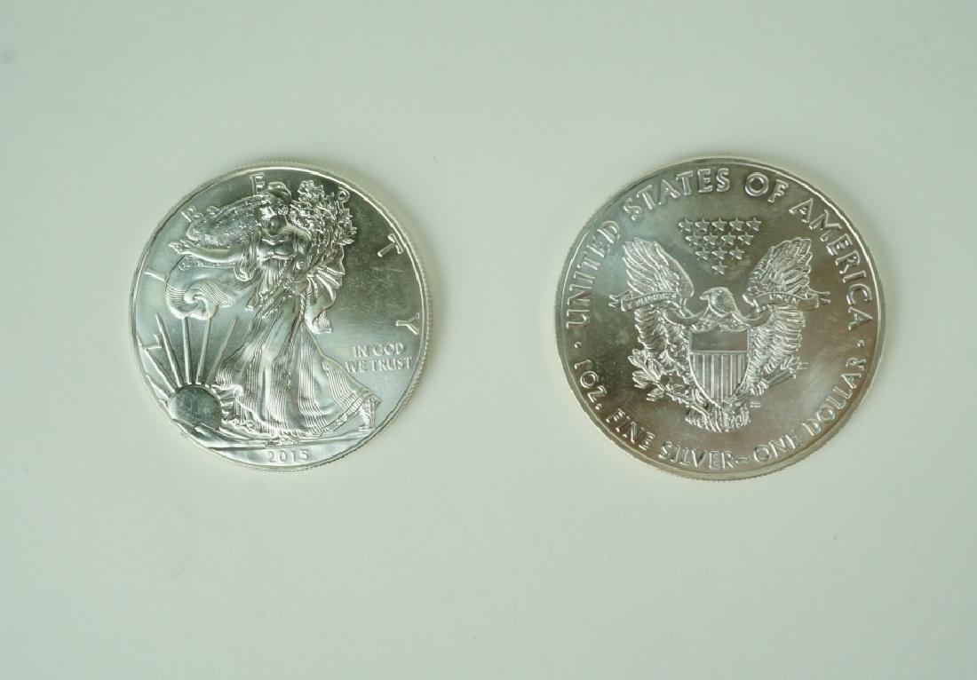(2) 1oz SILVER EAGLES UNCIRCULATED COINS