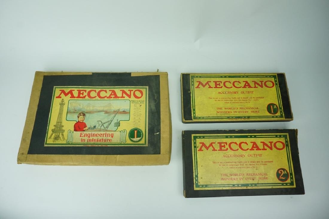 (3) BOXES OF ANTIQUE MECCANO BUILDING SETS