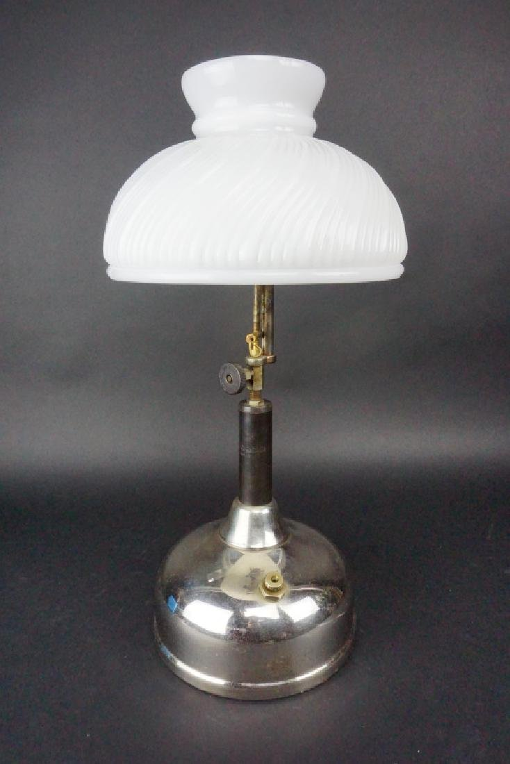 ANTIQUE COLEMAN QUICK-LITE TABLE LAMP WITH SHADE