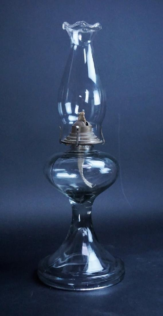ANTIQUE HAND MADE GLASS OIL BURNING LAMP