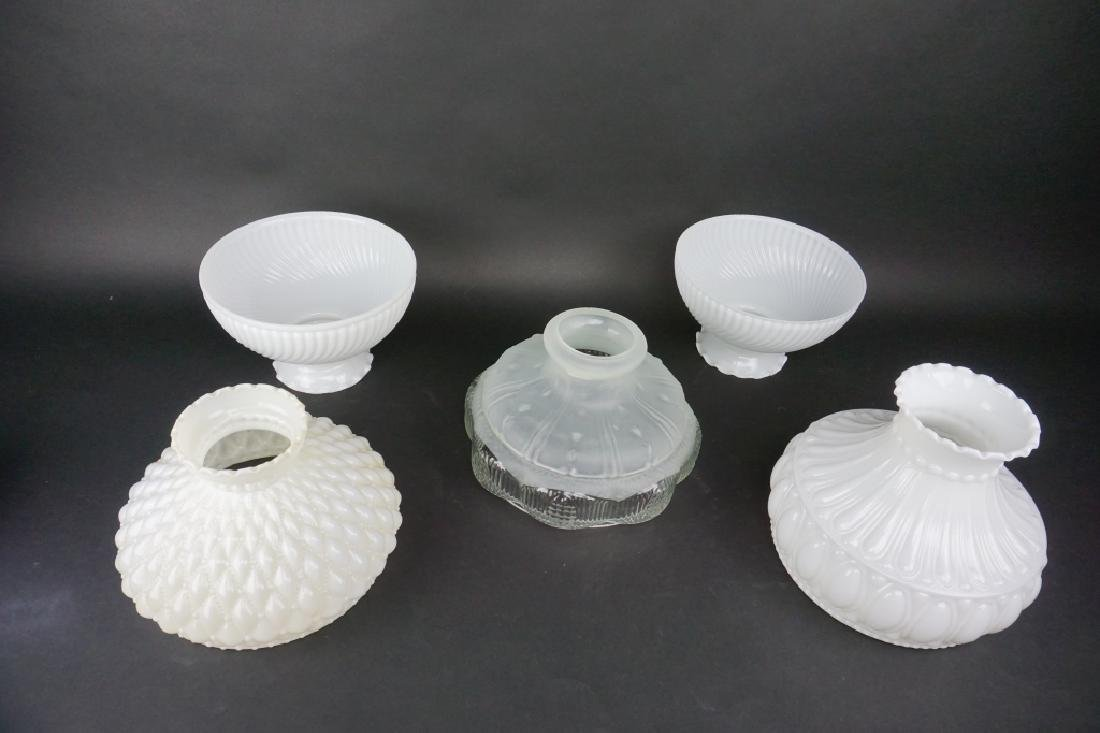 (5) ASSORTED ANTIQUE GLASS LAMP SHADES - 2